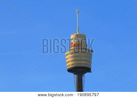 SYDNEY AUSTRALIA - MAY 30, 2017: Sydney Tower Eye. Sydney Tower Eye is Sydney's tallest structure and the second tallest observation tower in the Southern Hemisphere.