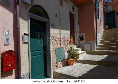 MANAROLA Italy June 3 2017 : A traditional house in a village of the Cinque Terre National Park on the Italian Riviera. The Cinque Terre area is a very popular tourist destination and a world heritage site.