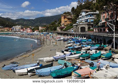 LEVANTO Italy June 4 2017 : The beach of Levanto. Levanto in the Italian region Liguria lies on the coast at the end of a valley thickly wooded with olive and pine trees and a part of its territory is included in the Cinque Terre National Park.
