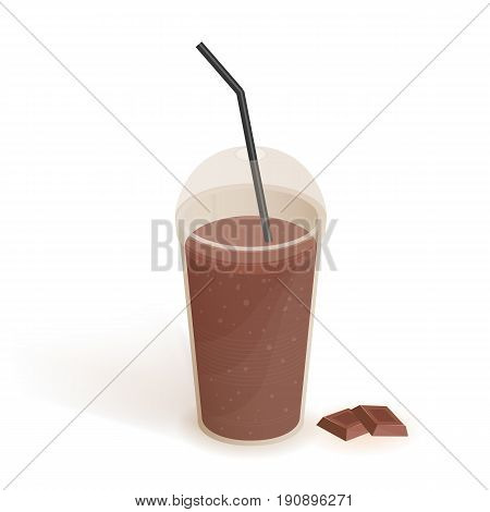Drink in transparent plastic cup with lid and straw. Smoothie with chocolate. Beverage, realistic vector illustration on white background