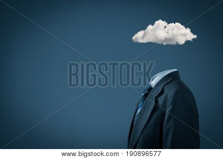 Sky is the limit concept. Head is in the clouds concept. Businessman has business vision and ideas and dream about success.