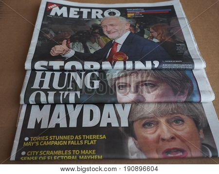 Newspapers Showing Theresa May And Jeremy Corbyn