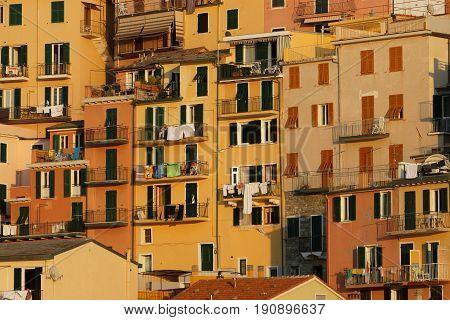 Manarola, Italy, June 2, 2017 : Detail Of Colored Houses Of Manarola, A Village Of The Cinque Terre