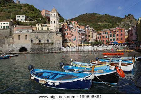 Vernazza, Italy, June 4, 2017 : Small Boats In The Marina Of Vernazza, A Cinque Terre National Park