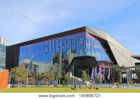 SYDNEY AUSTRALIA - MAY 30, 2017: Unidentified people visit International Convention Centre theatre.