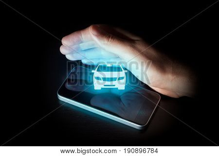 Intelligent car, intelligent vehicle and smart cars concept. Symbol of the car and mobile phone.