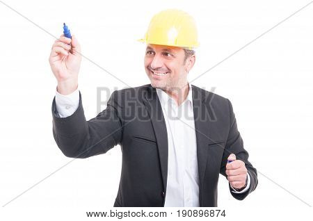 Architect Wearing Hardhat Writing With Marker