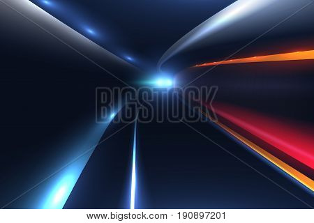 City road car light trails. High speed vector background. Illumination of road with speed car motion illustration