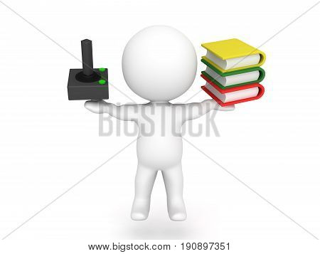 3D Character balancing leisure time and studying. A image showing the choice between recreation and working.