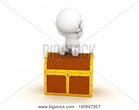 3D Character sitting on treasure not realizing his own potential. Image presenting the concept of under estimating yourself.
