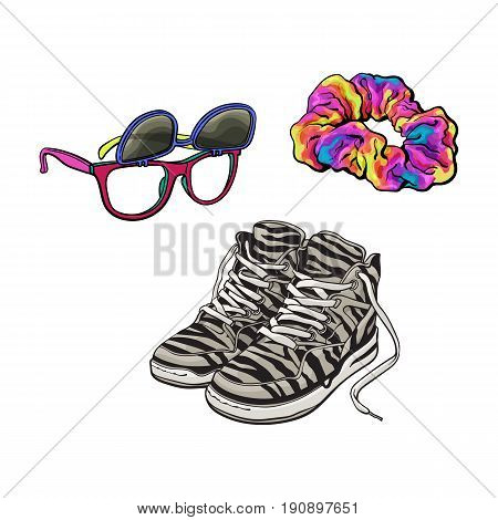 90s fashion accessories - sneakers, sunglasses with removable lenses, scrunchie hair tie, sketch vector illustration isolated on white background. Retro sneakers, sunglasses, fabric covered hair band