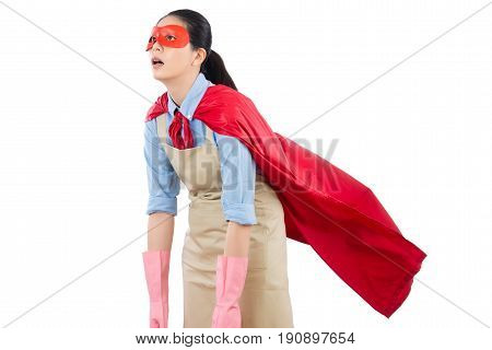 Woman Superhero Housewife Feel Exhausted