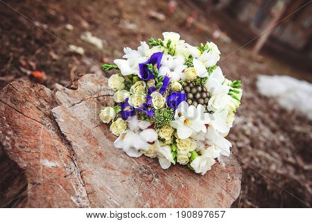 Wedding bouquet. Bride's flowers. Festive bouquet of the bride