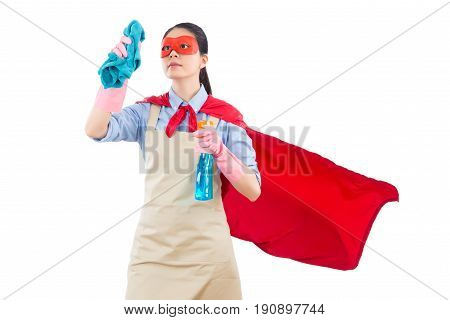 Happy Superhero With Cleaning Work
