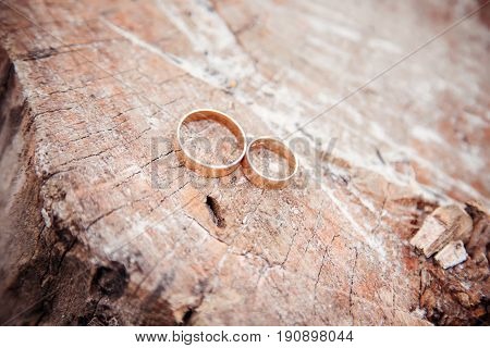 wedding rings on wood, vintage color toned image, ring