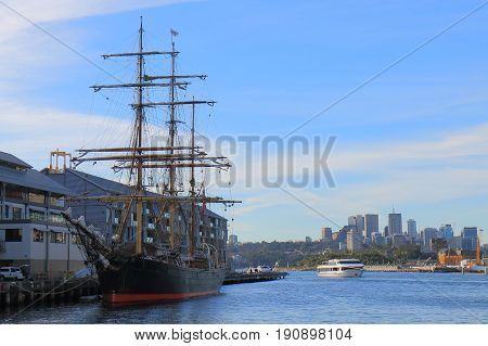 Historical ship moored in Darling Harbour Sydney Australia