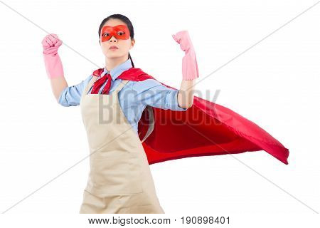 Housewife Superhero Showing Her Strong Muscle