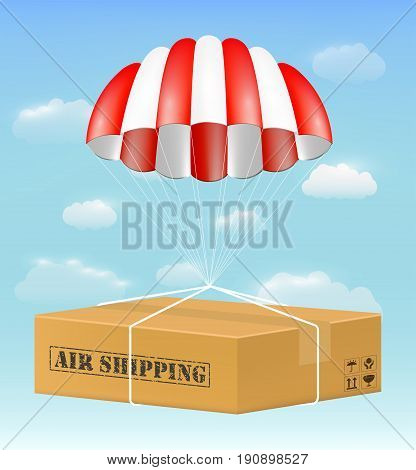 A parachute with air shipping carton box with sky.