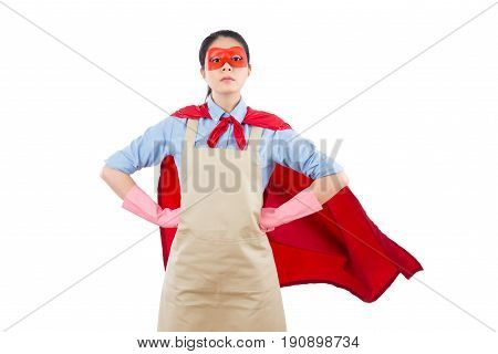 Successful Superhero House Clean Worker Standing