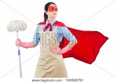 portrait of successful mixed race asian chinese superhero pointing standing confidence holding mop. isolated on white background. housework and household concept. poster