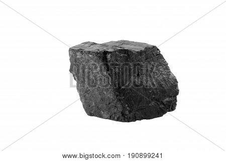 Black coal mineral from Donetsk region (Ukraine) isolated on white background.