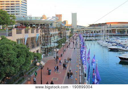SYDNEY AUSTRALIA - MAY 30, 2017: Unidentified people visit Darling Harbour in Sydney.