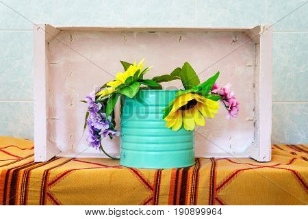Floral decoration in real southern kitschy style Italy