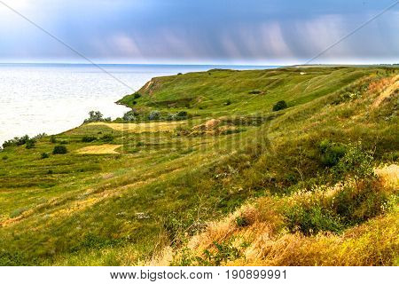 Coast Of Olbia, Ukraine. Sea, Grass, Meadow, Antiquity.