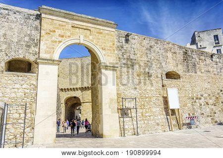 Entrance To Medieval Castle In Otranto, Italy