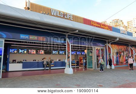 SYDNEY AUSTRALIA - MAY 30, 2017: Unidentified people visit ticket office for Sealife, Wildlife and Madame Tussauds.