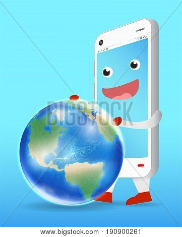 A smartphone cartoon playing with earth globe vector.