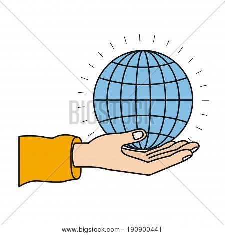 colorful silhouette hand palm giving a globe chart charity symbol vector illustration