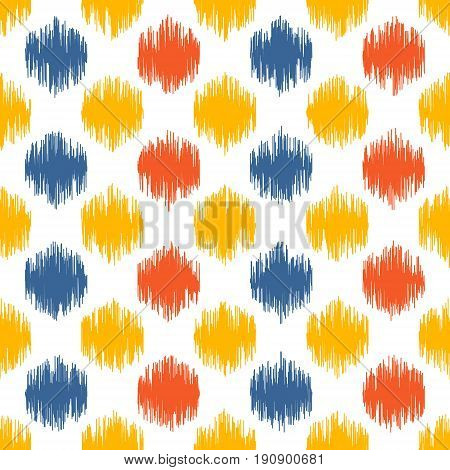 Seamless geometric pattern based on ikat fabric style. Vector illustration. Carpet rug texture vector imitation. Colorful spots pattern.