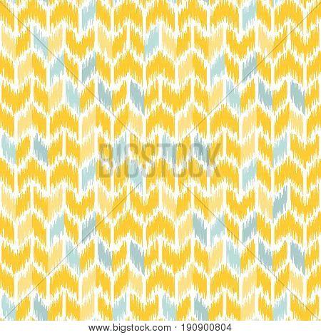 Seamless geometric pattern based on ikat fabric style. Vector illustration. Carpet rug texture vector imitation. Yellow and gray chevron pattern.