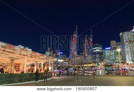 SYDNEY AUSTRALIA - MAY 30, 2017: Unidentified people visit Darling Harbour Harbourside.