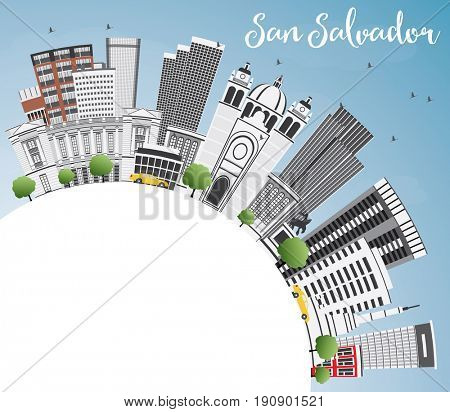 San Salvador Skyline with Gray Buildings, Blue Sky and Copy Space. Business Travel and Tourism Concept with Modern Architecture. Image for Presentation Banner Placard and Web Site.