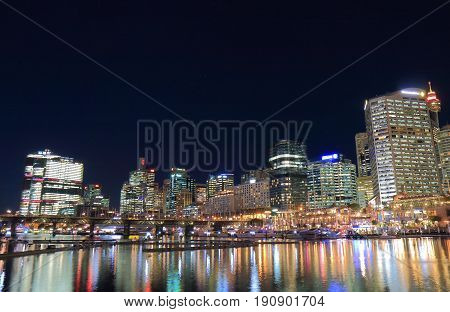 Darling Harbour Sydney night cityscape in Australia