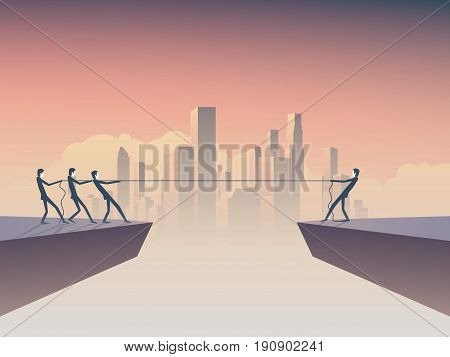 Business tug of war concept vector illustration with one businessman against many with corporate background skyline, cityscape. Symbol of leadership, individual strength, power and superiority. Eps10