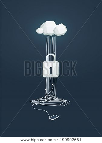 Data protection and cyber security vector concept. Symbol of lock and cloud computing technology as protection from hacking. Eps10 vector illustration.