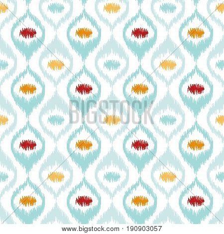 Seamless geometric pattern based on ikat fabric style. Vector illustration. Carpet rug texture vector imitation. Turquoise mint yellow orange and red ogee pattern.