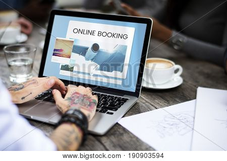 Illustration of air ticket booking for travel destination on laptop