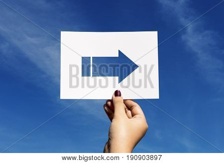 Road sign direction perforated paper arrow