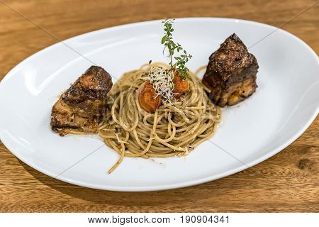 Spaghetti pasta with Pork Belly Thai southern style