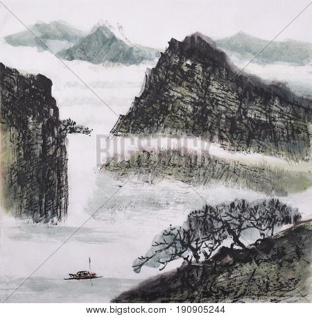 landscape of Chinese traditional ink painting