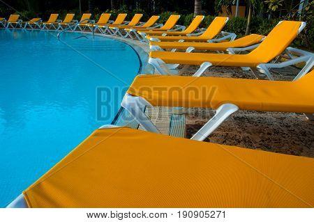 Beautiful swimming pool area in Cuban resort