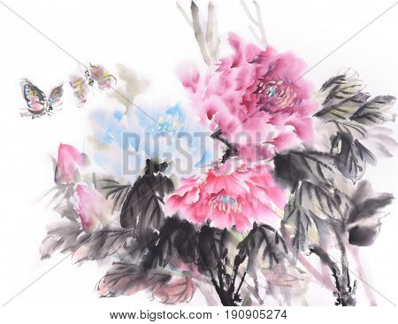 Traditional chinese ink painting of peony flower