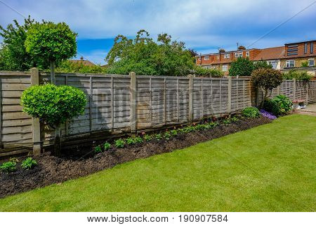 Flower bed with newly panted bedding flowers shurbs and wooden fence