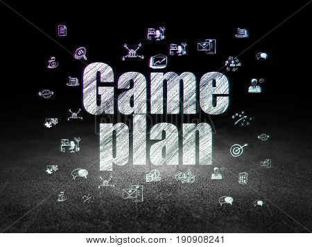 Finance concept: Glowing text Game Plan,  Hand Drawn Business Icons in grunge dark room with Dirty Floor, black background