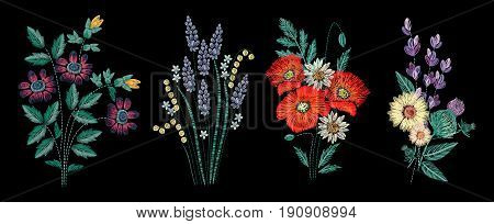 Set of embroidery bouquet on black background. Different flower compositions, wildflowers. Folk line trendy pattern for clothes, dress, decor. Colorful satin stitch floral design