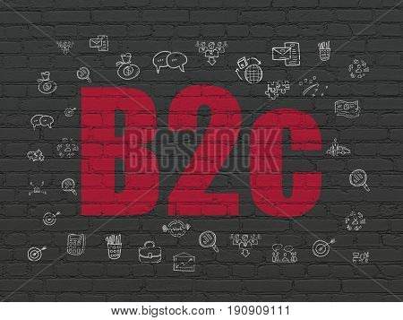 Business concept: Painted red text B2c on Black Brick wall background with  Hand Drawn Business Icons